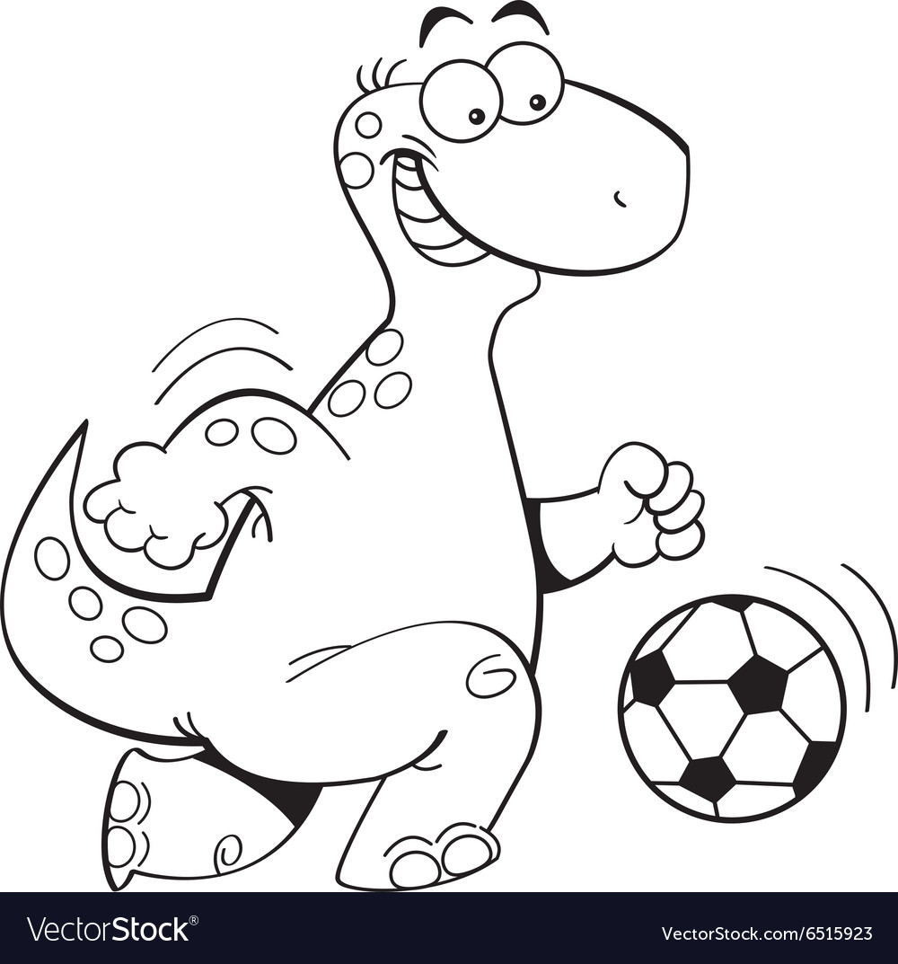 Cartoon dinosaur playing soccer vector
