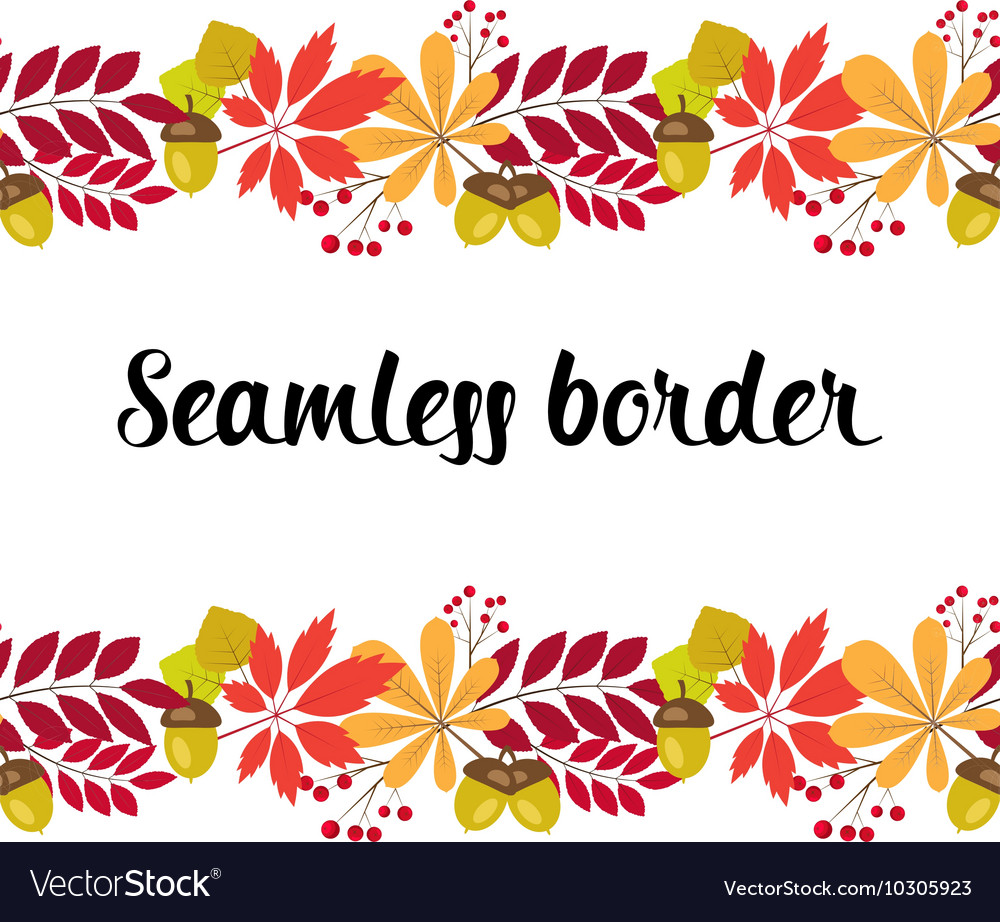 Horizontal seamless border with autumn vector
