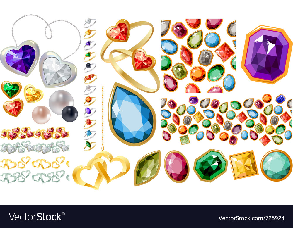 Big jewellery set with gems and rings vector