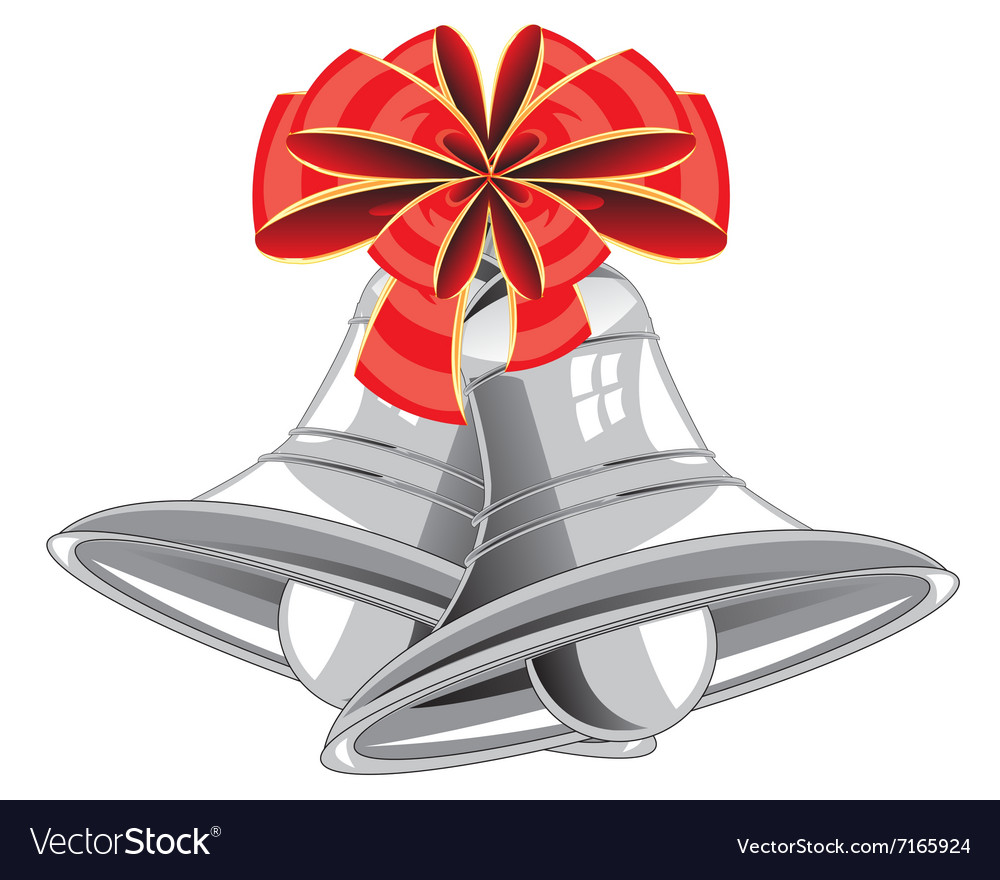Bow and campanulas on white background vector