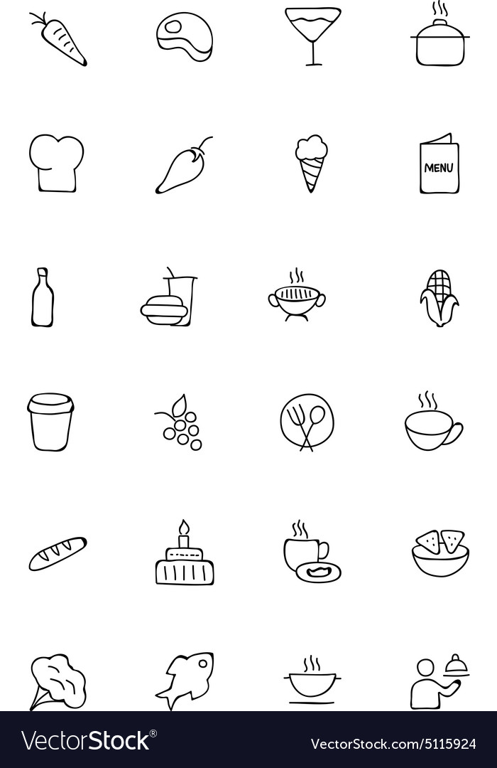 Food hand drawn outline icons 2 vector