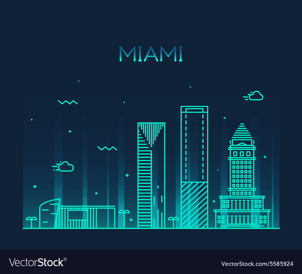 Miami skyline trendy linear vector