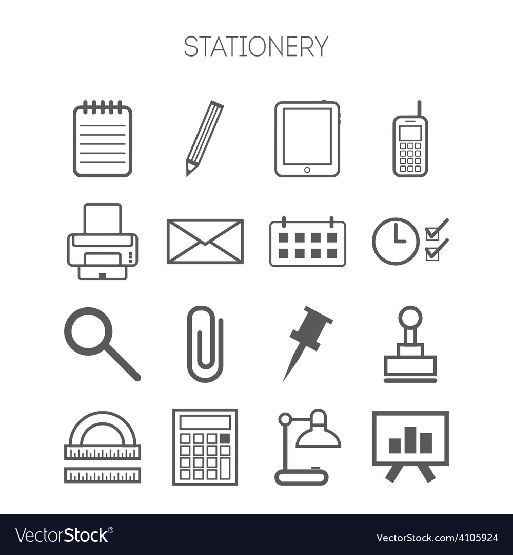 Set of simple stationery and business icons vector