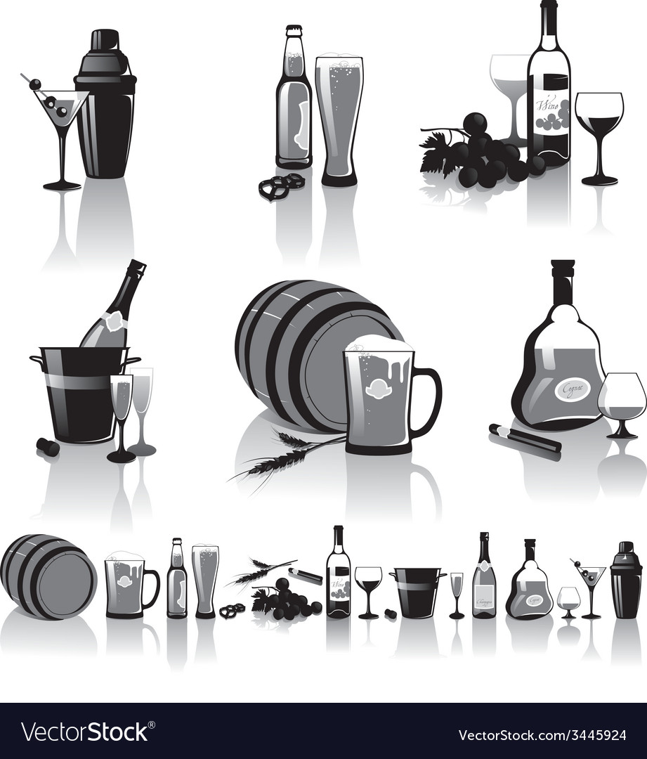 Stilllife of spirits and glasses vector