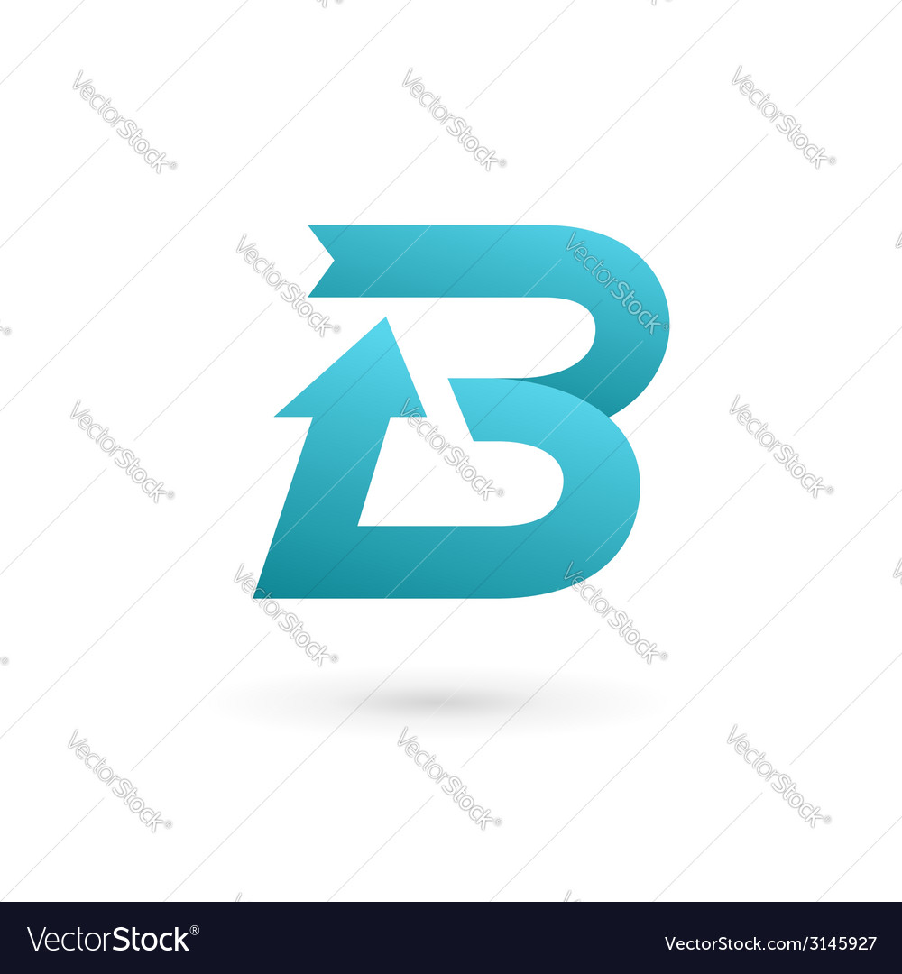 Letter b arrow ribbon logo icon design template vector