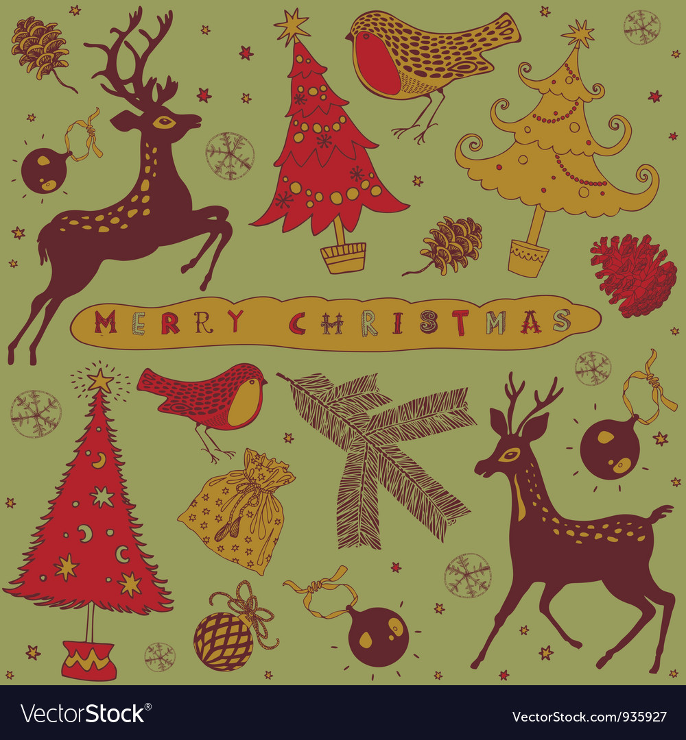 Vintage christmas deer card vector