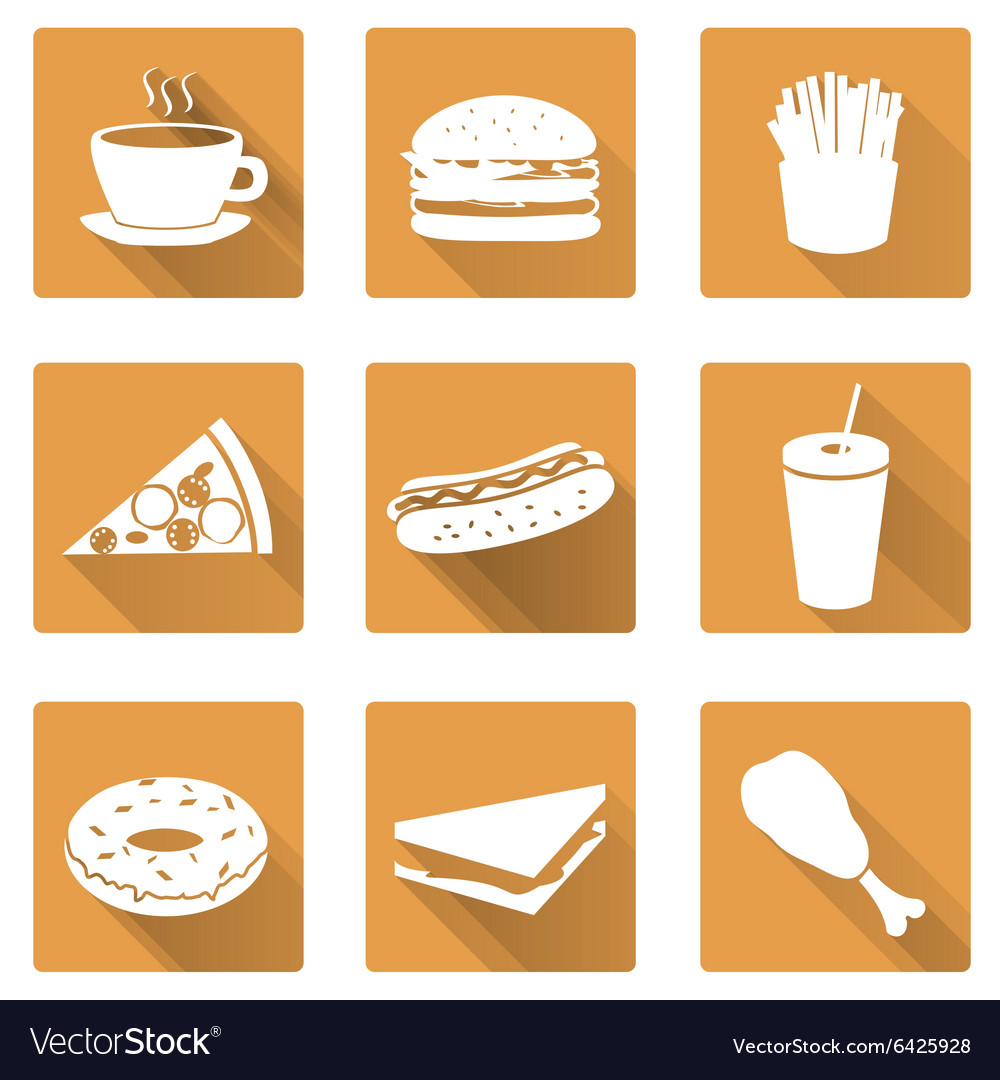 Fast food flat orange icons with shadow set eps10 vector