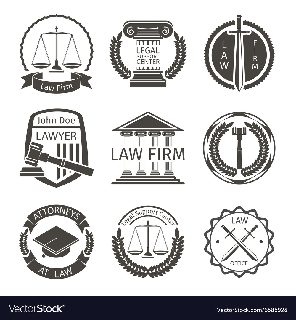 Lawyer and law office logo emblem labels vector