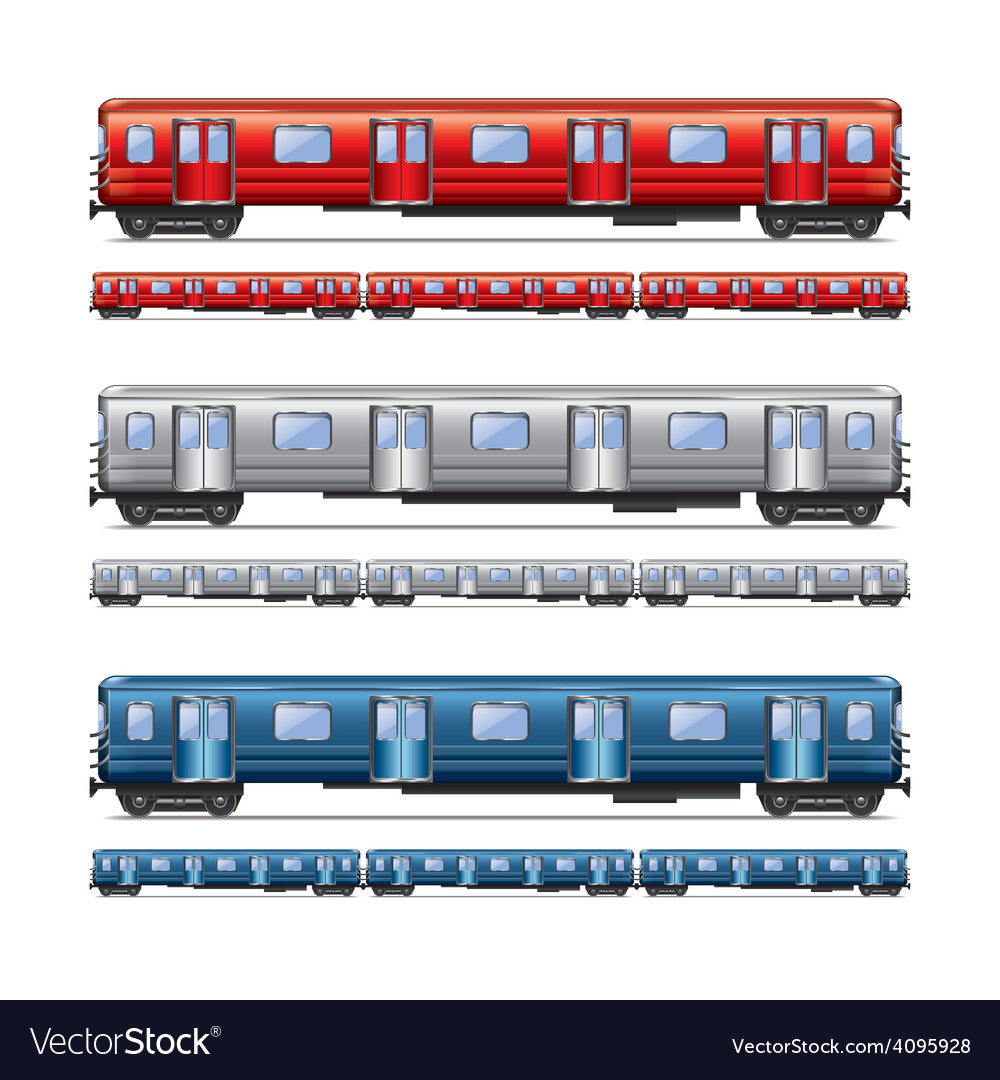 Subway train isolated set vector
