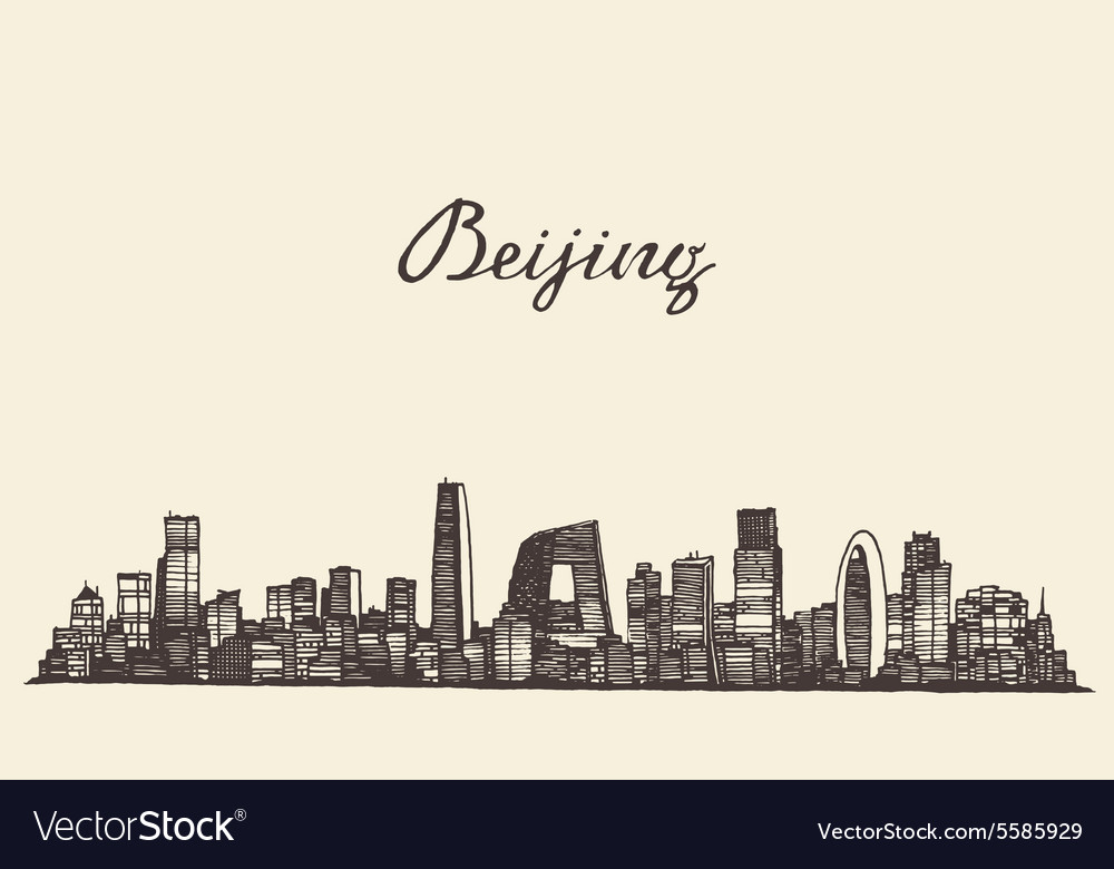 Beijing skyline engraved drawn sketch vector
