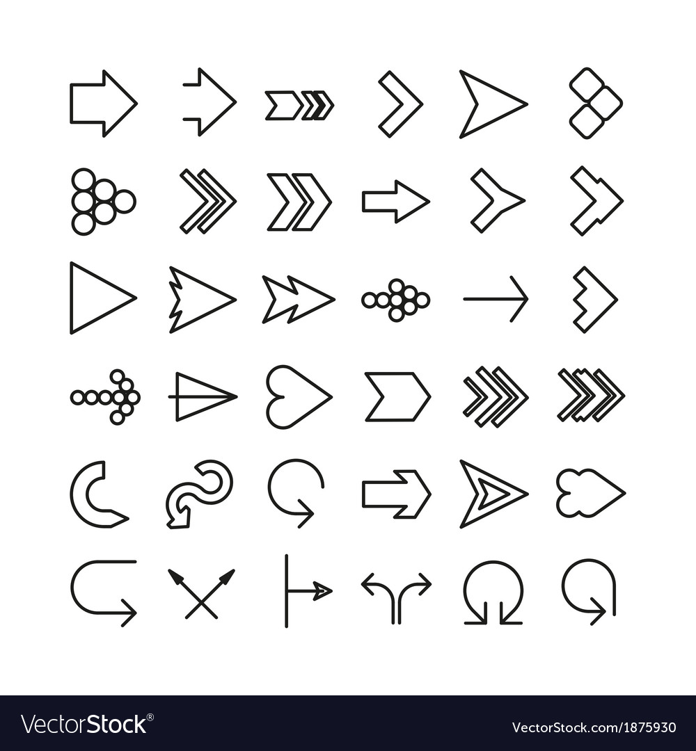 Arrow thin line icon set flat design vector