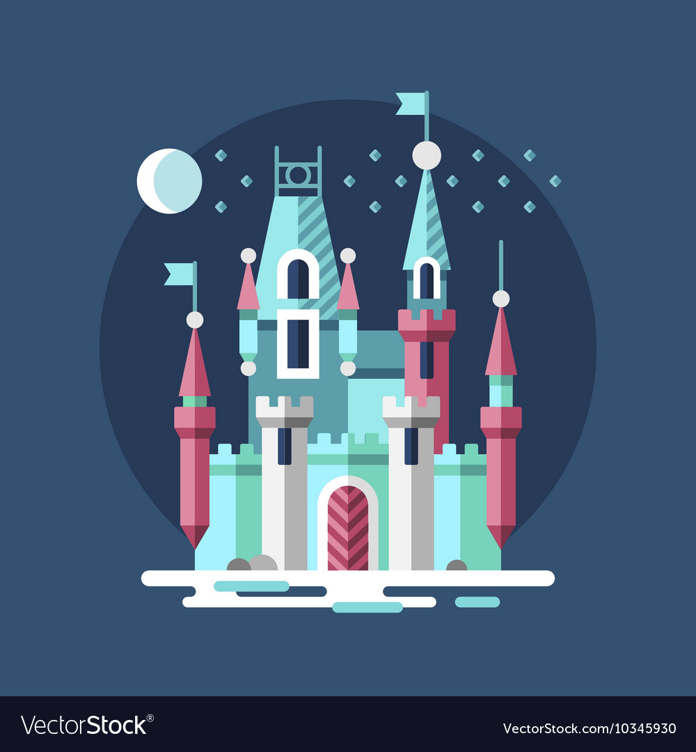 Snowy castle ice palace in the winter vector