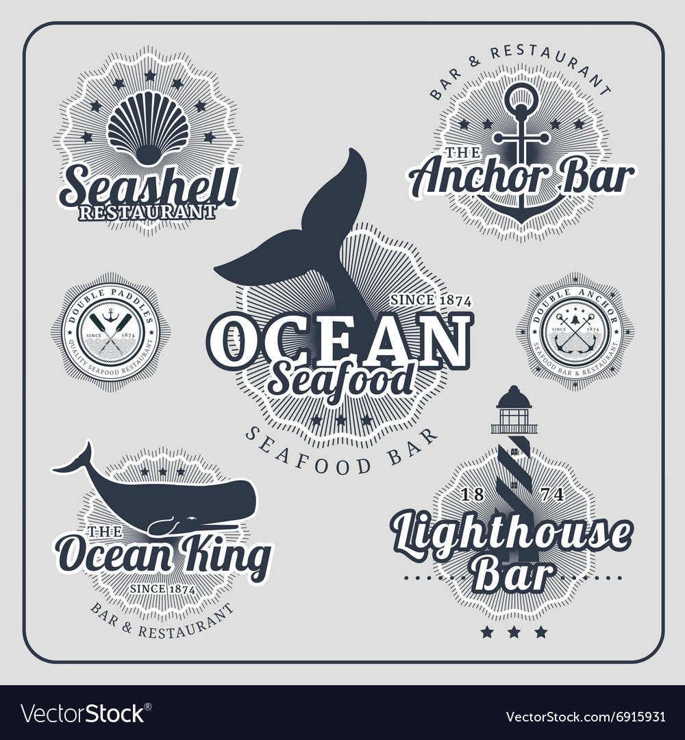 Vintage restaurant nautical labels set vector