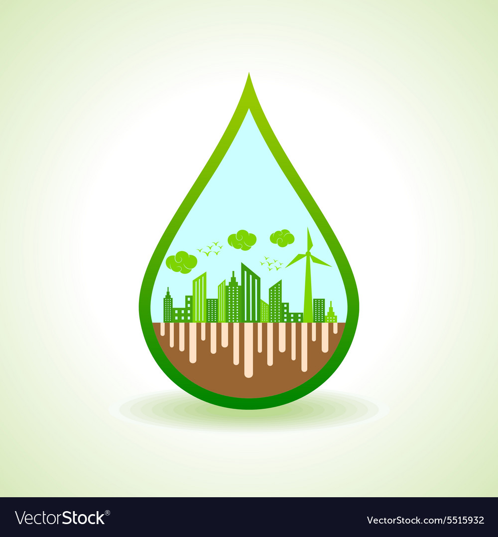 Ecology concept with water droplet  illus vector