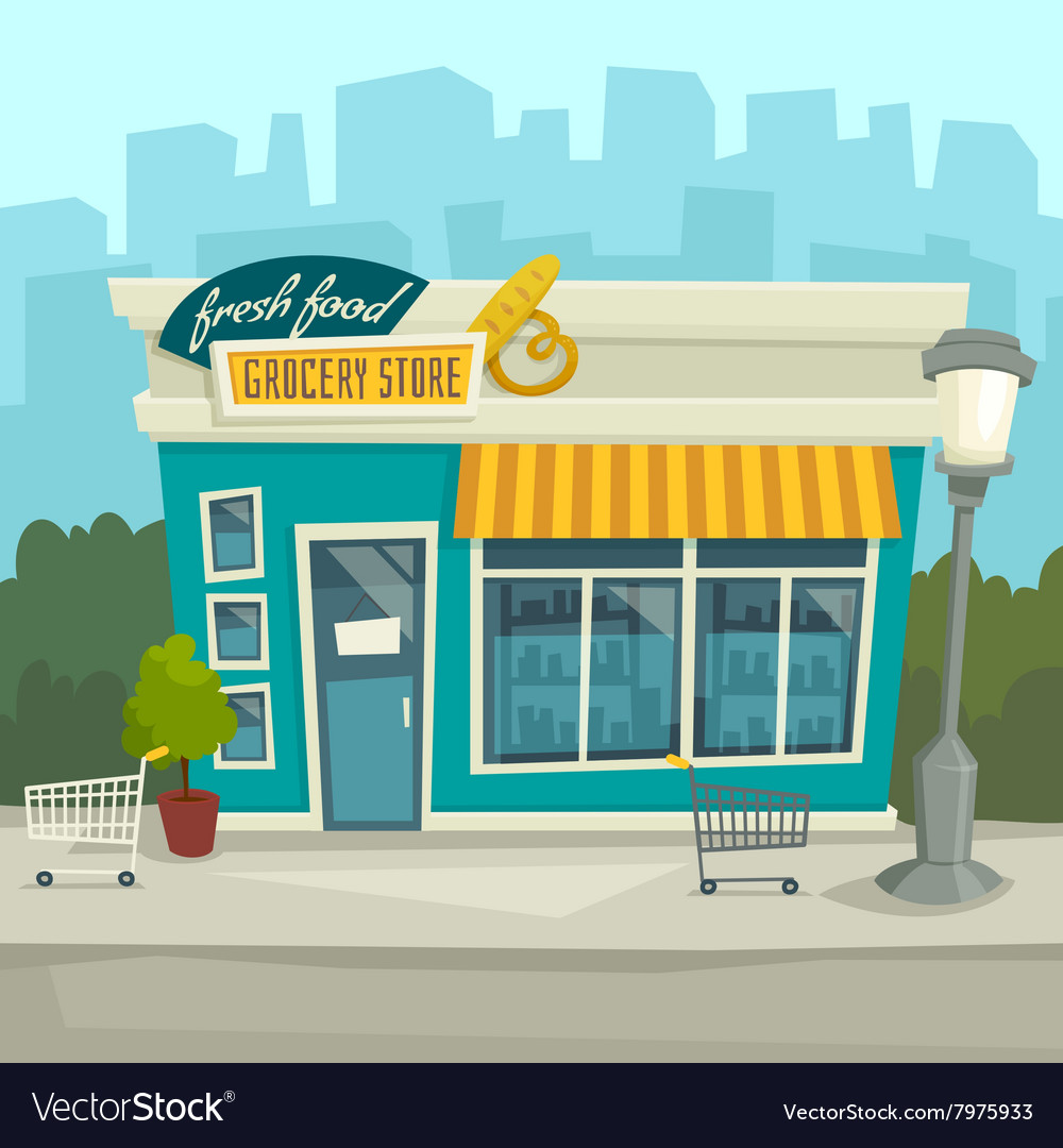 City background with shop building cartoon vector