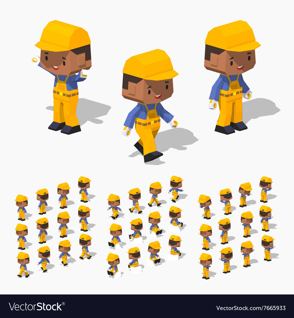 Low poly worker vector