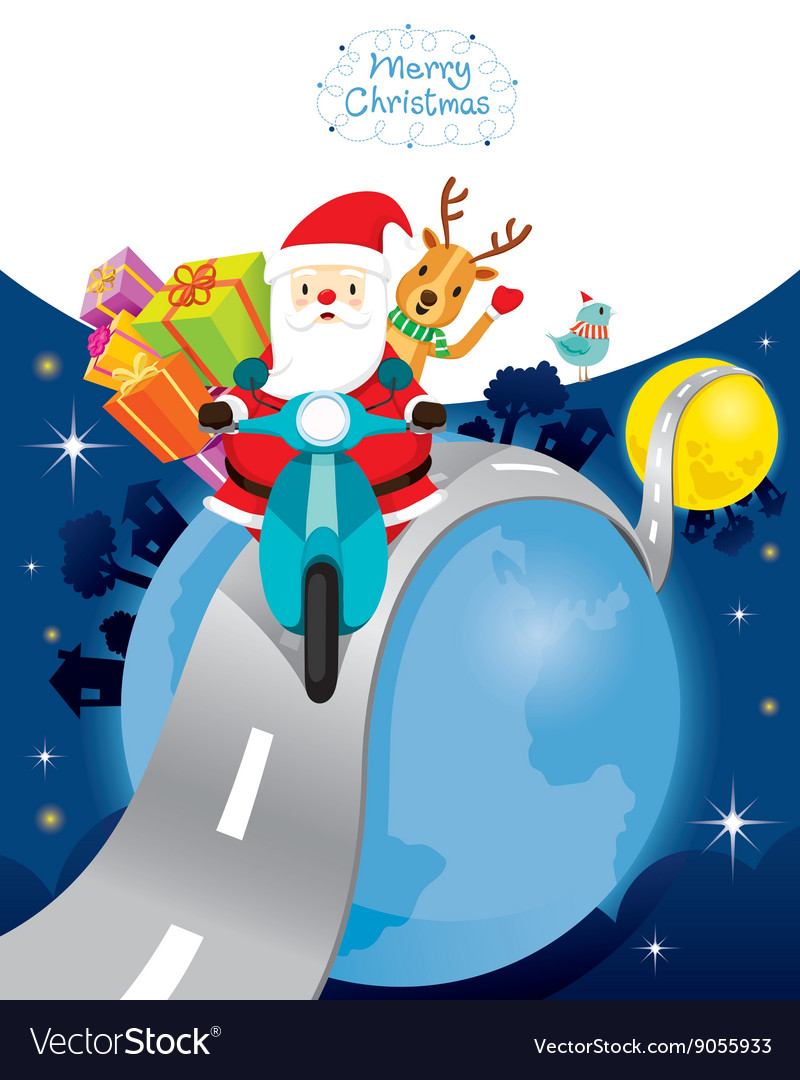 Santa claus riding motorcycle with reindeer vector