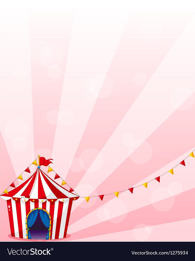 A red circus tent with banners vector