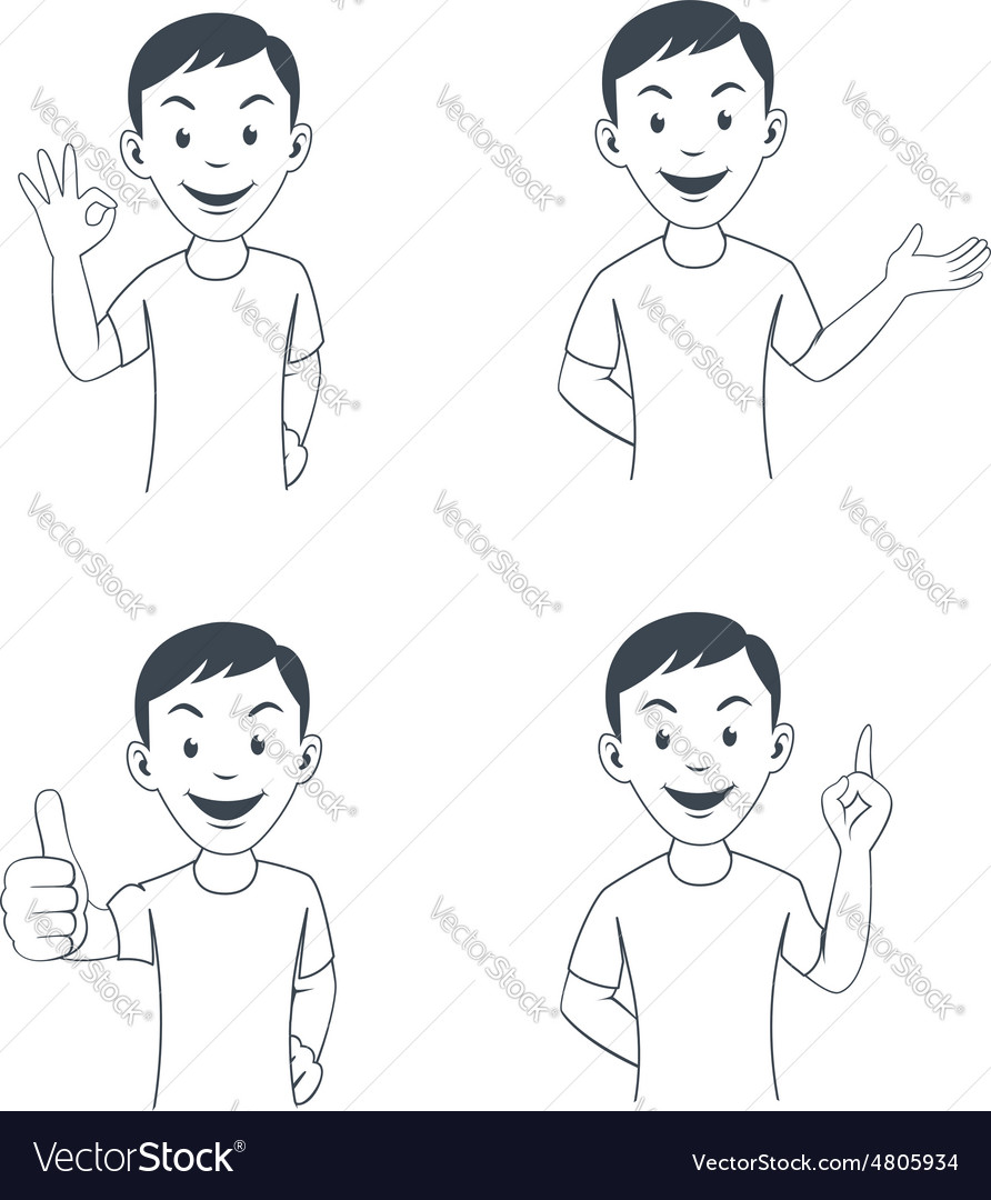 Funny cartoon office worker in various poses vector