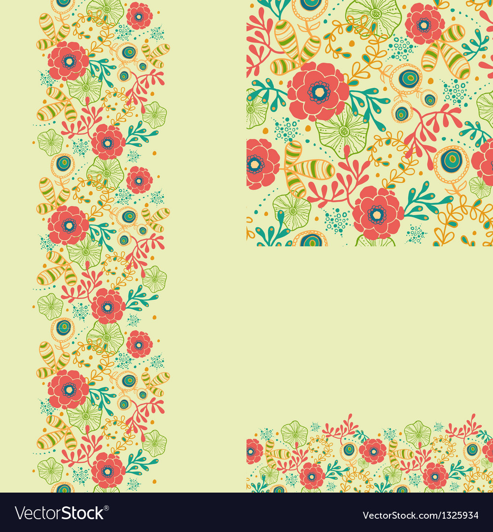 Set of spring flowers seamless pattern and borders vector
