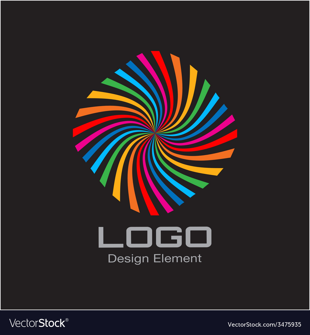 Colorful bright rainbow spiral logo on black backg vector