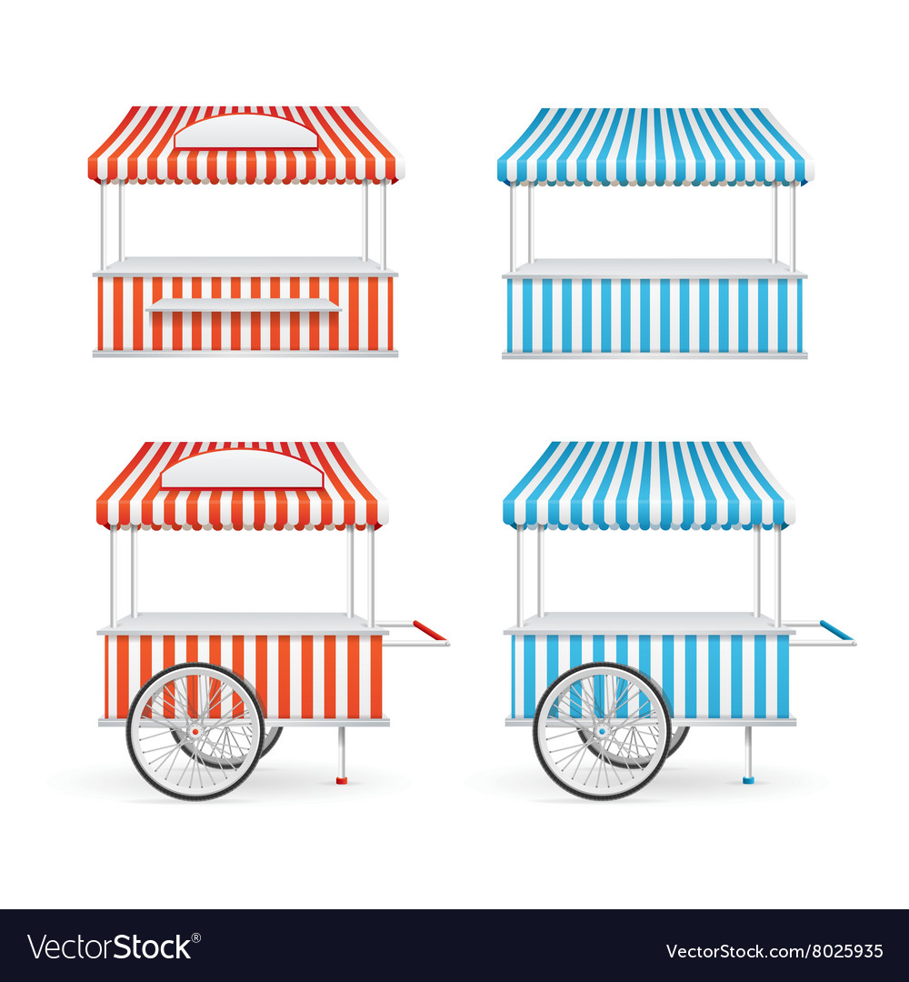 Market stall set vector