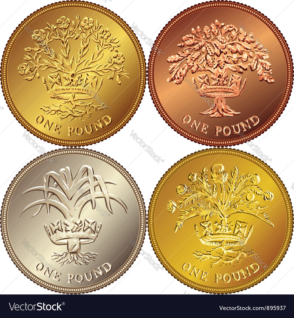 British money gold one pound vector