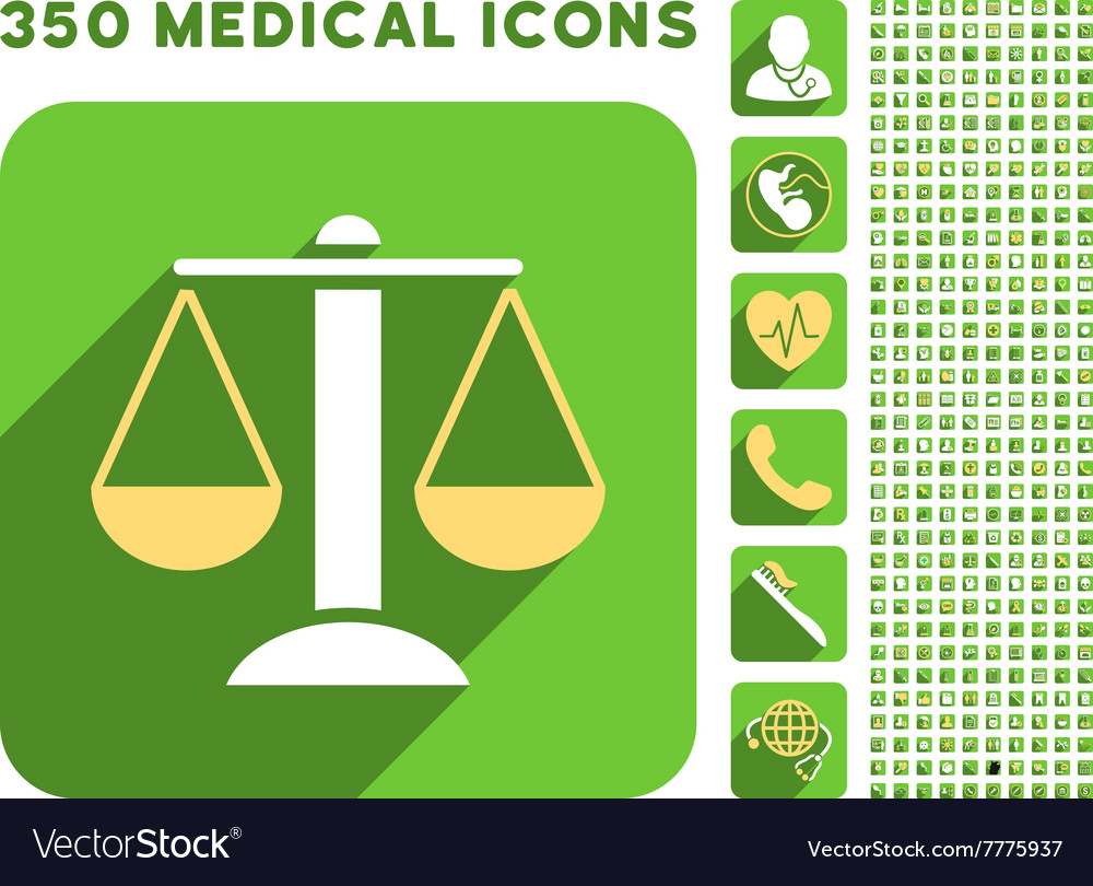 Scales icon and medical longshadow icon set vector