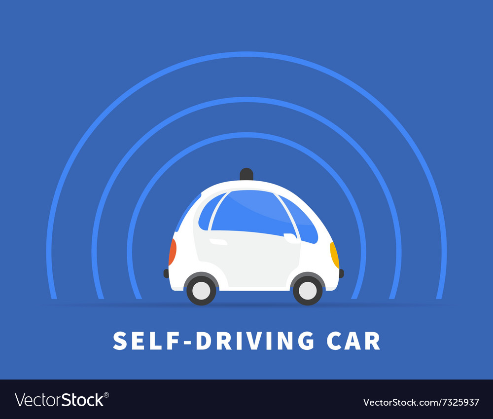 Selfdriving car black icon vector