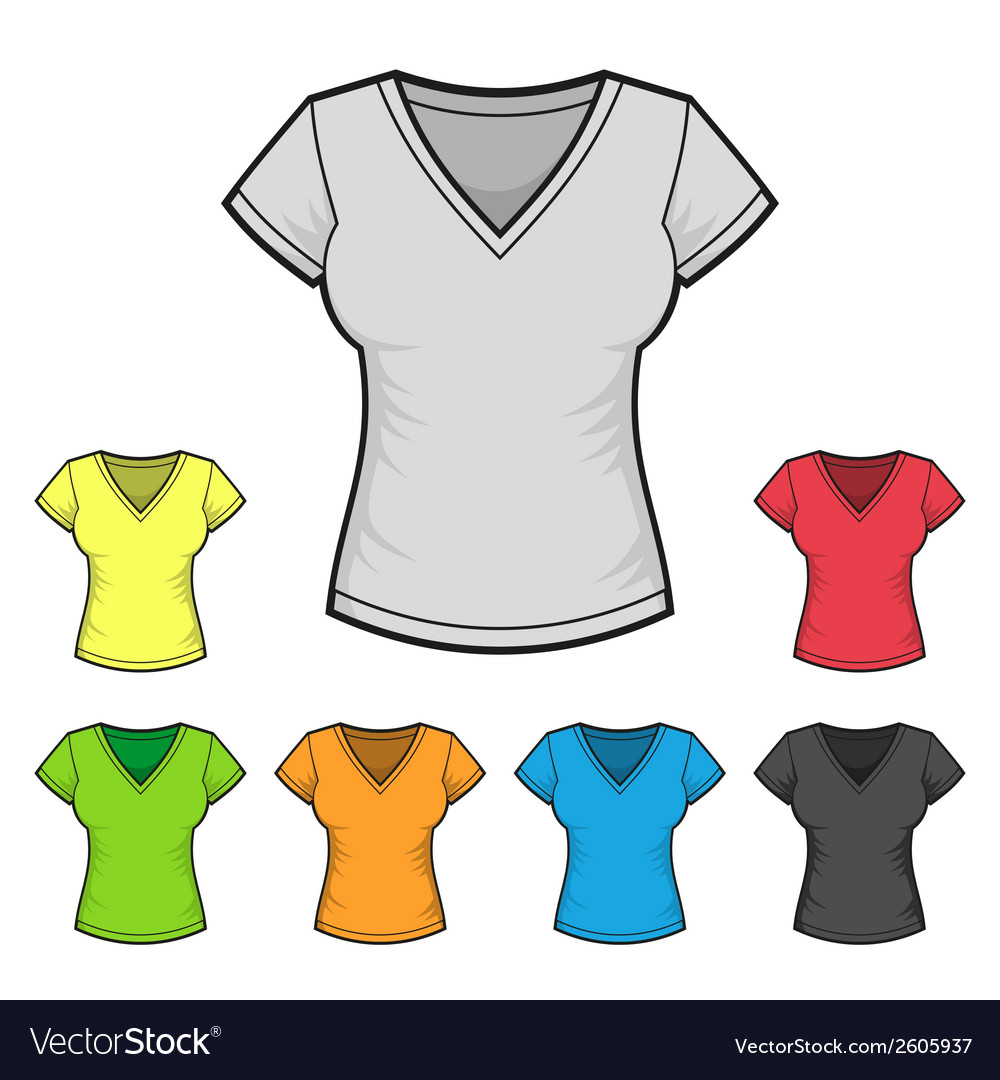 Womens vneck tshirt design template color set vector