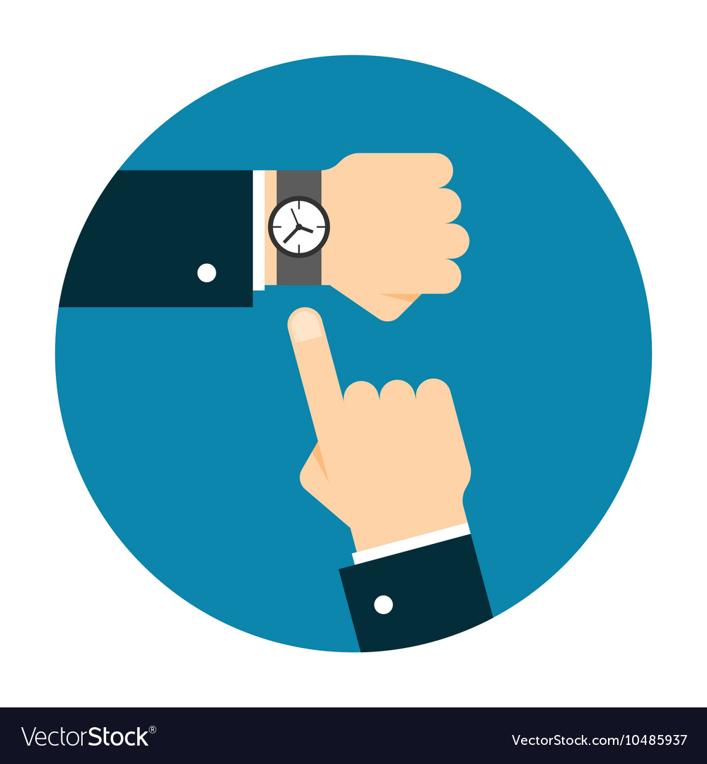 Wristwatch on the hand vector
