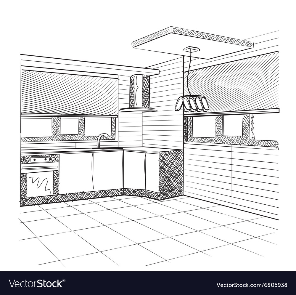 Sketch of a kitchen interior vector