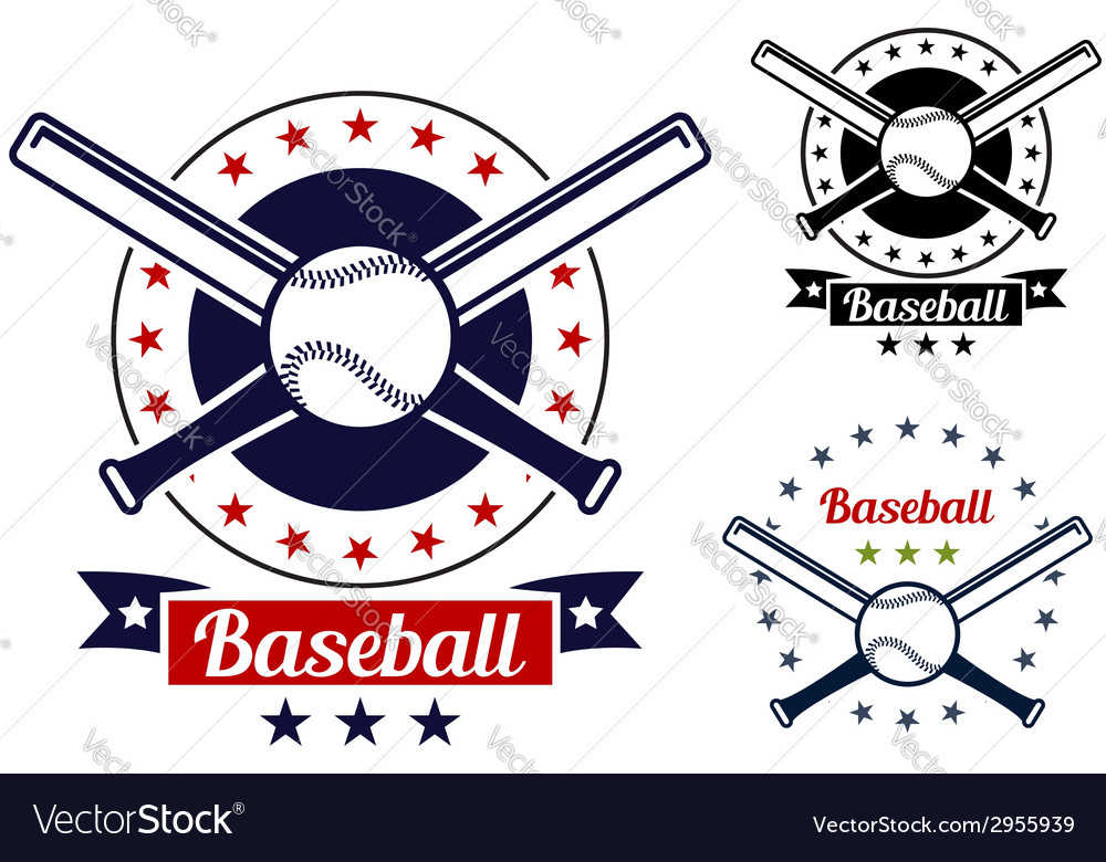 Baseball sport team badges vector