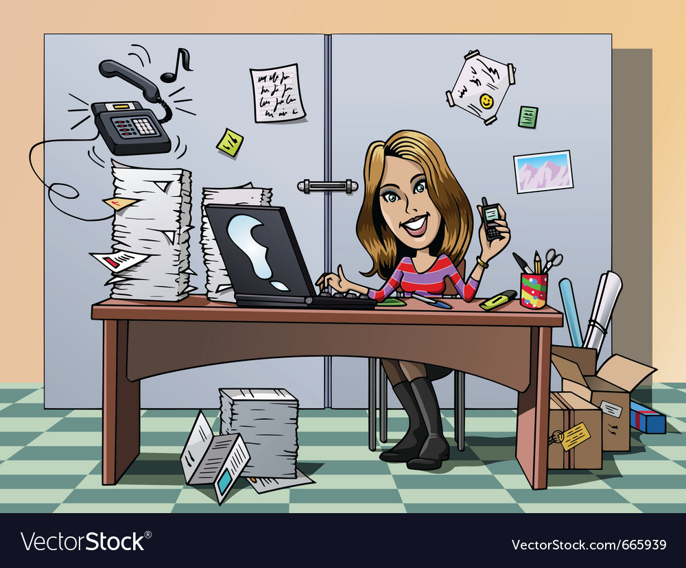 Busy employee vector