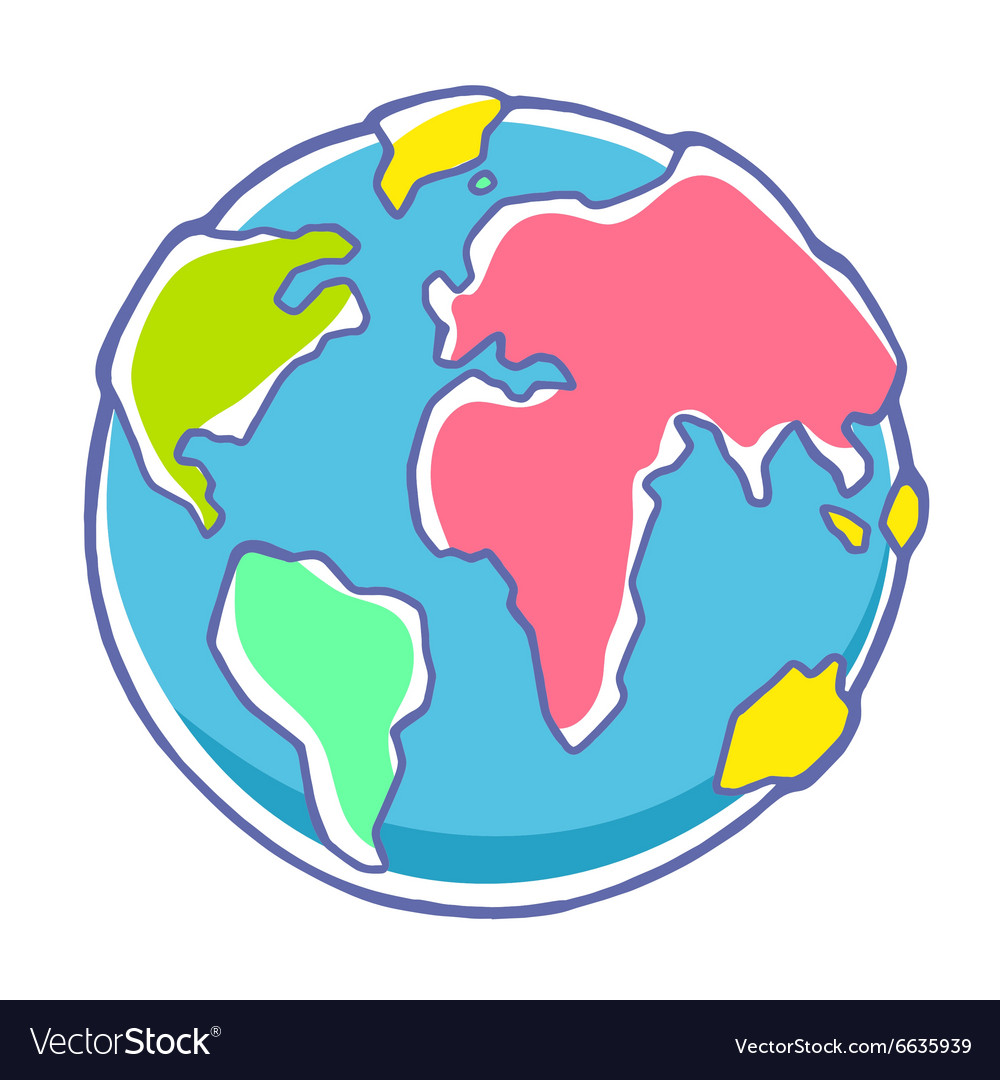 Colorful of planet earth on white background vector