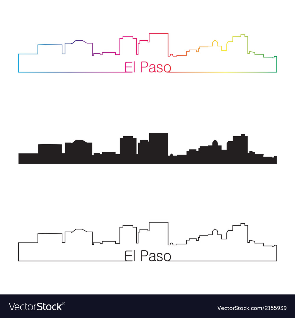 El paso skyline linear style with rainbow vector
