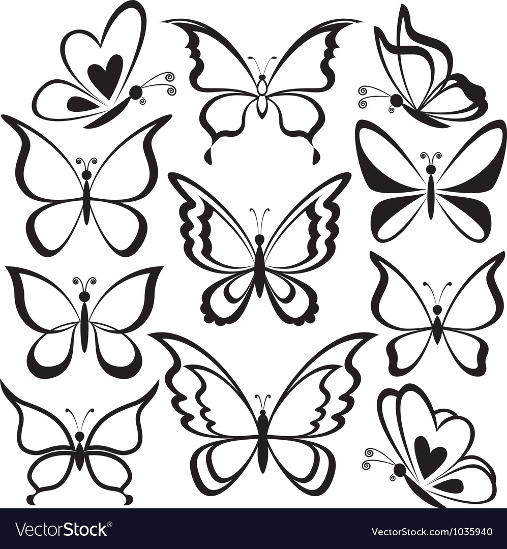 Butterflies black contours vector