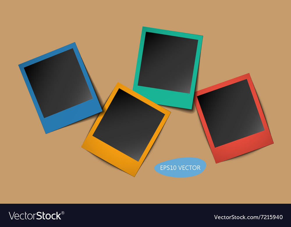 Colored photo frames with shadows vector