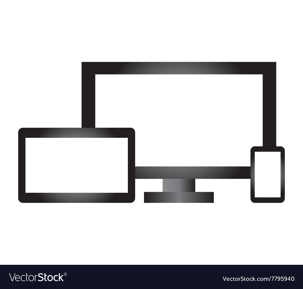 Computer and phone with tablet vector