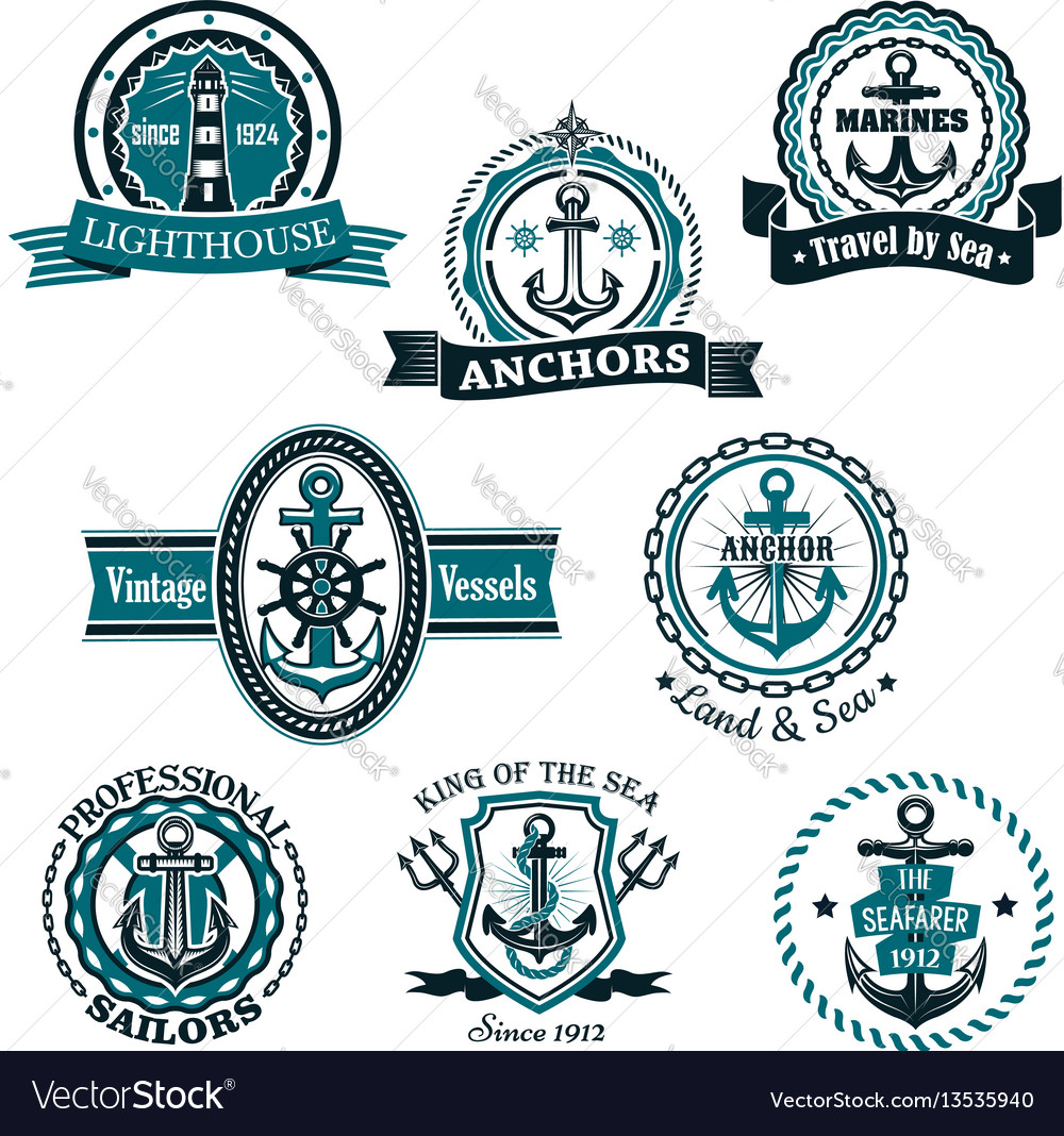 Marine and nautical heraldic icons set vector