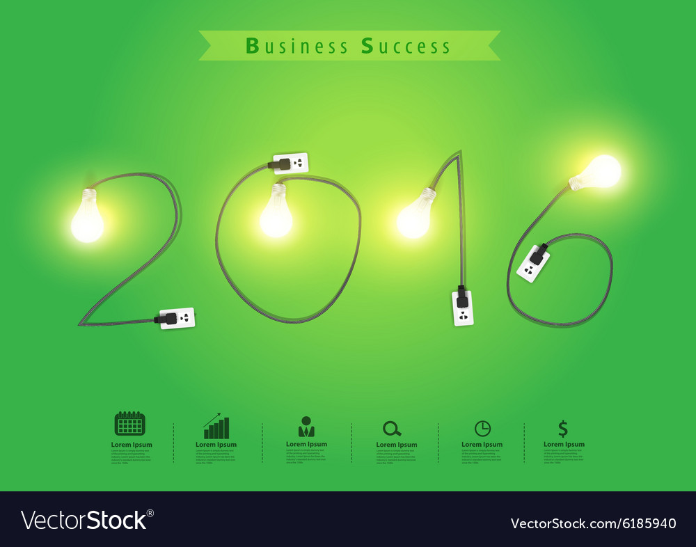 Numbers of new year 2016 with creative light bulb vector