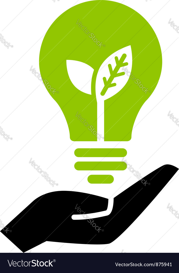 Green ecology bulb on hand vector