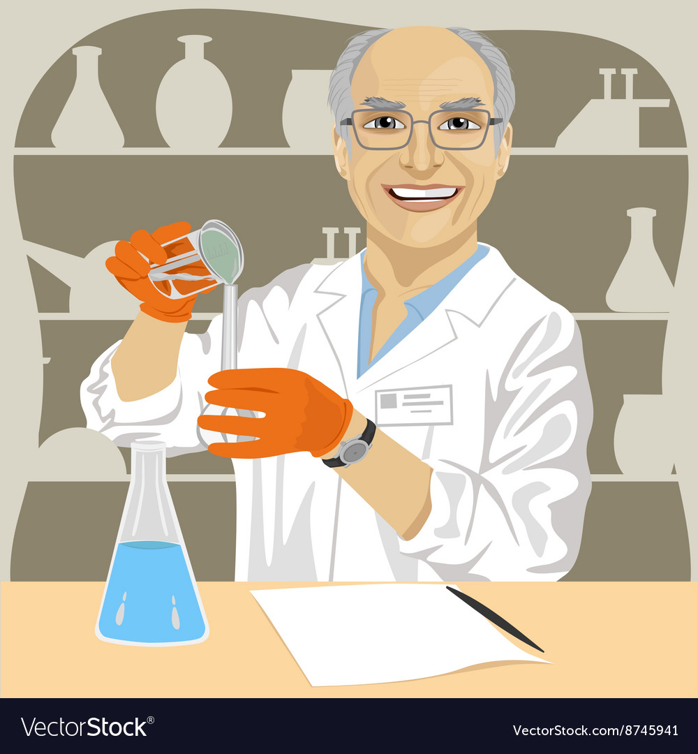 Senior male scientist mixing chemicals vector