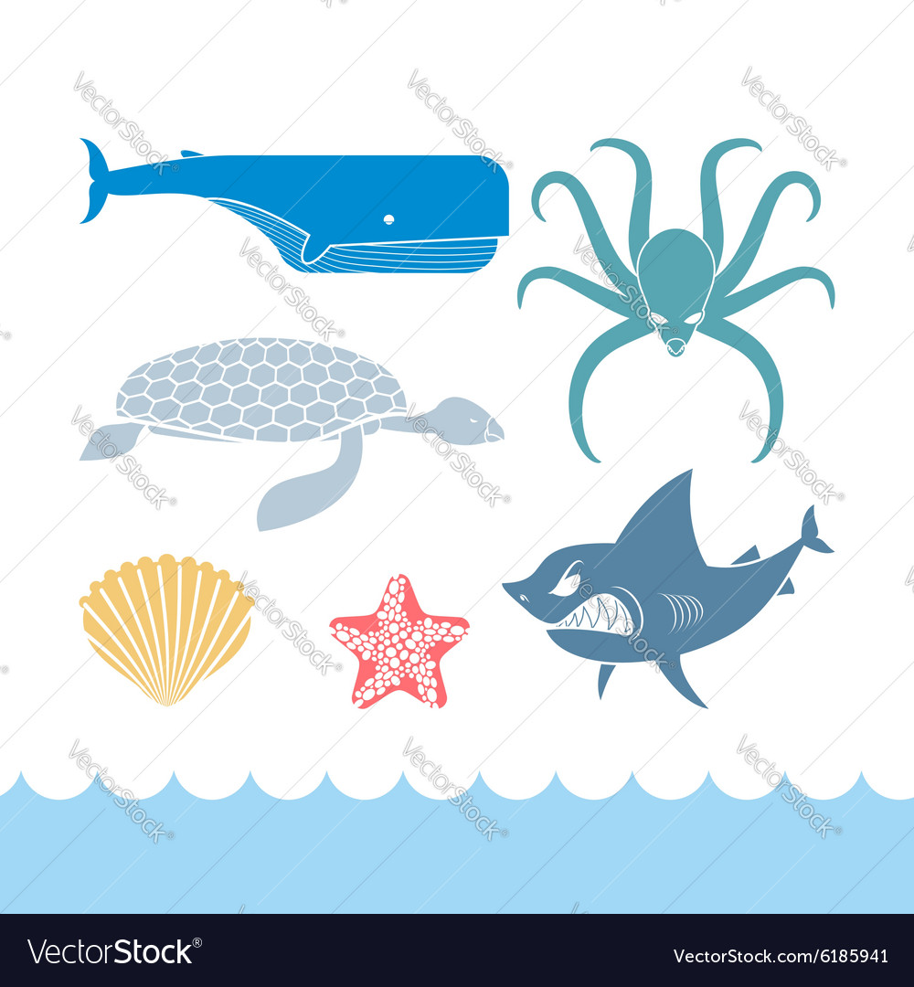 Underwater world set flat icons animals ocean vector