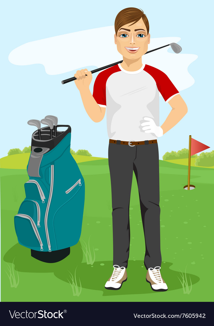 Handsome male golfer with a golf club vector