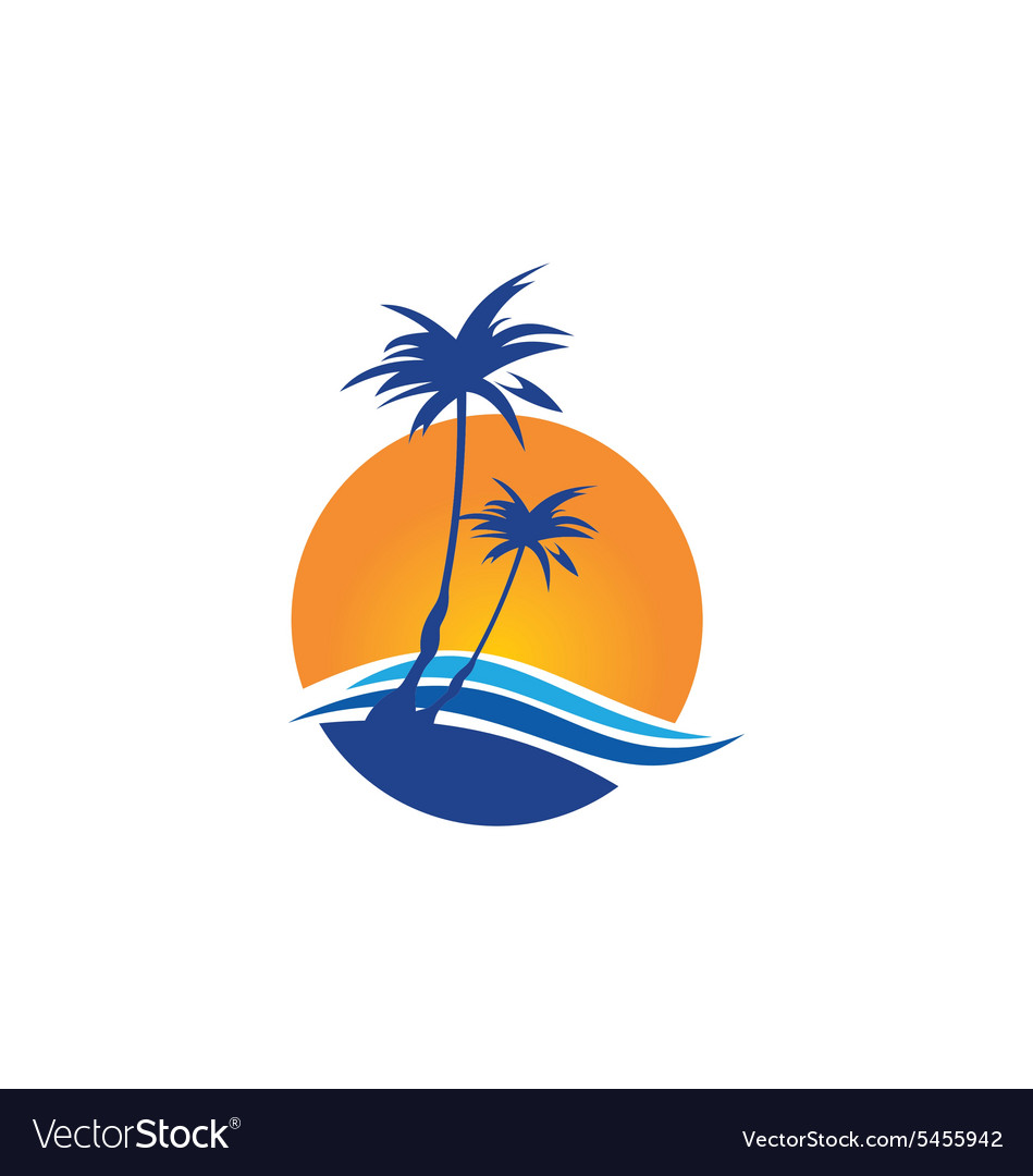 Palm tree beach tropic travel logo vector