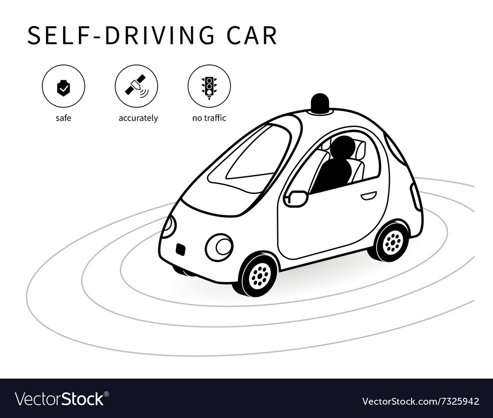 Selfdriving car line icon vector