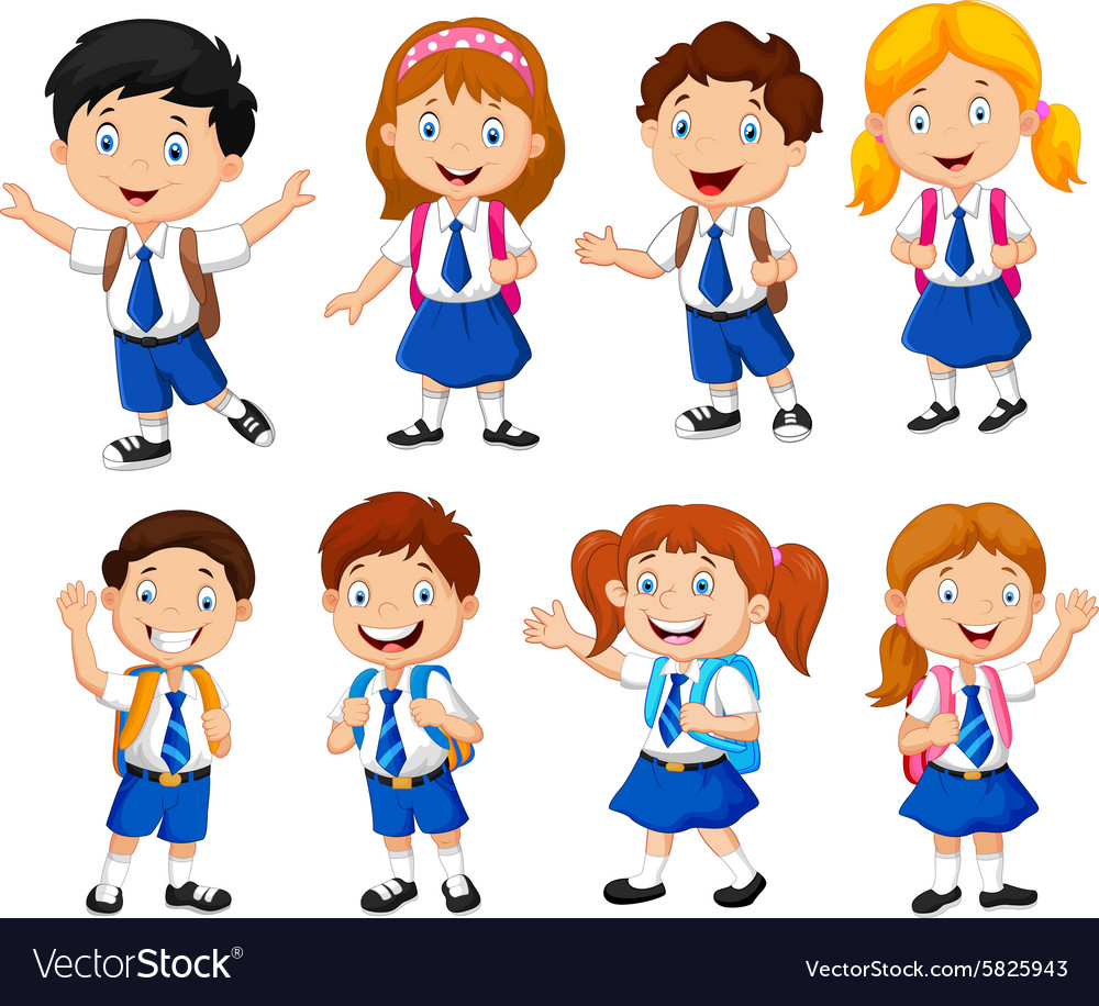School children cartoon vector