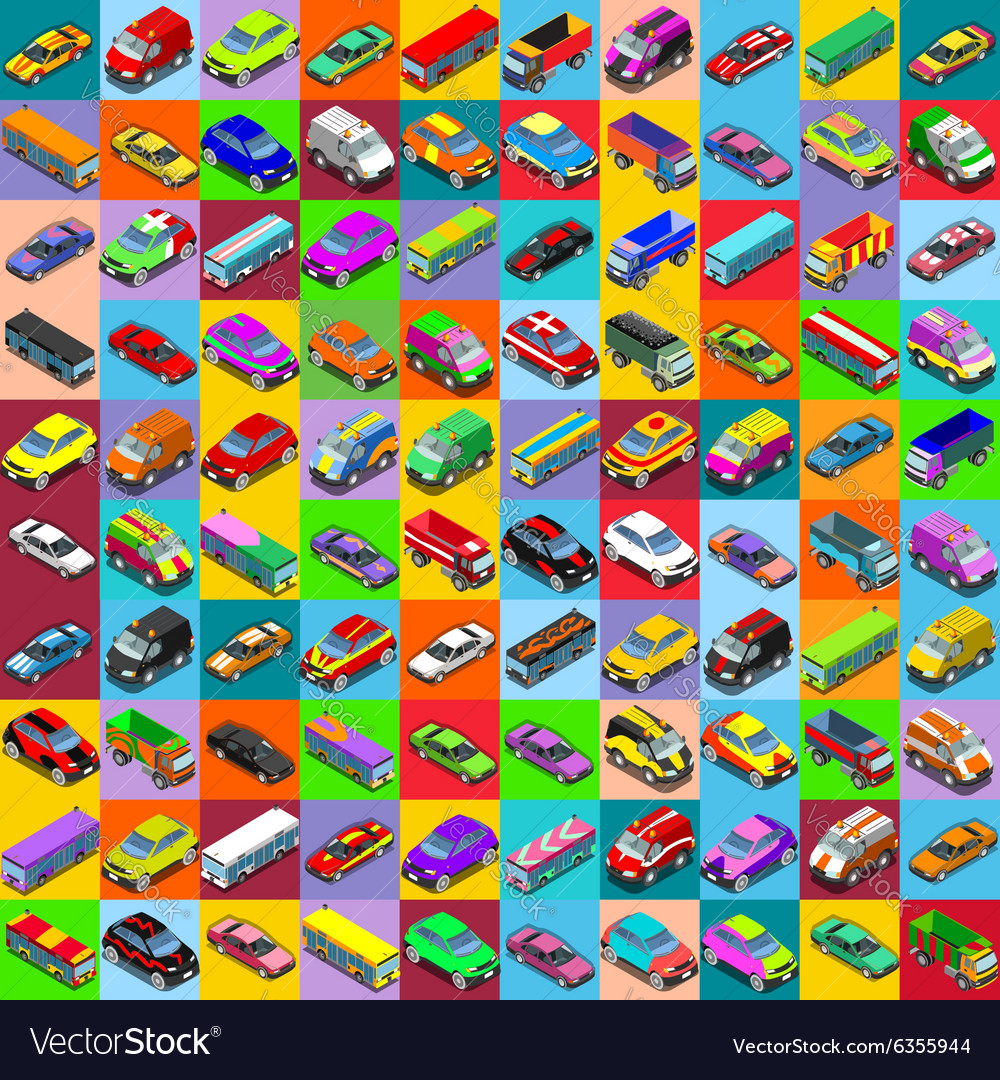 Cars 2 flat 01 vehicle isometric vector