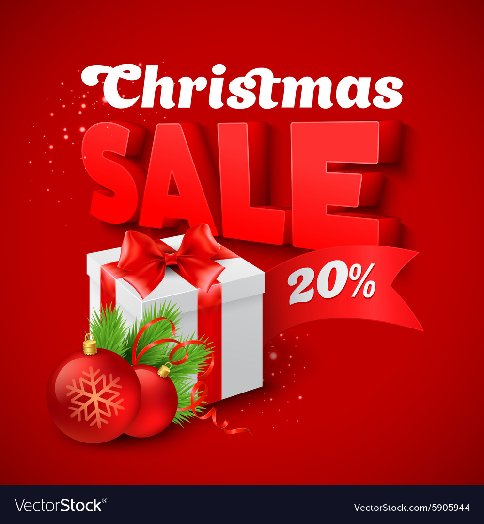 Christmas sale with gift box vector